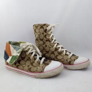 Coach Size 9 Bonney Hi Top Fashion Sneakers Sig C